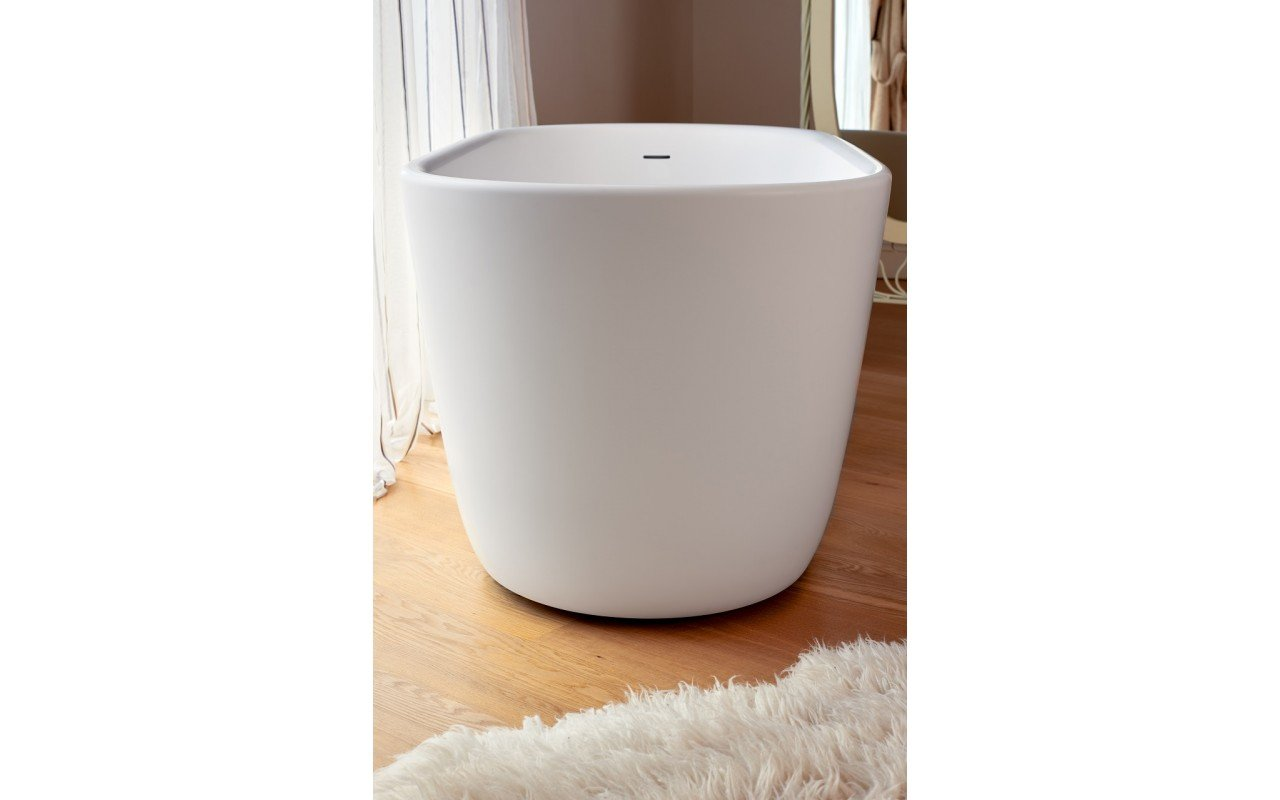 Lullaby Wht Small Freestanding Solid Surface Bathtub by Aquatica web 2