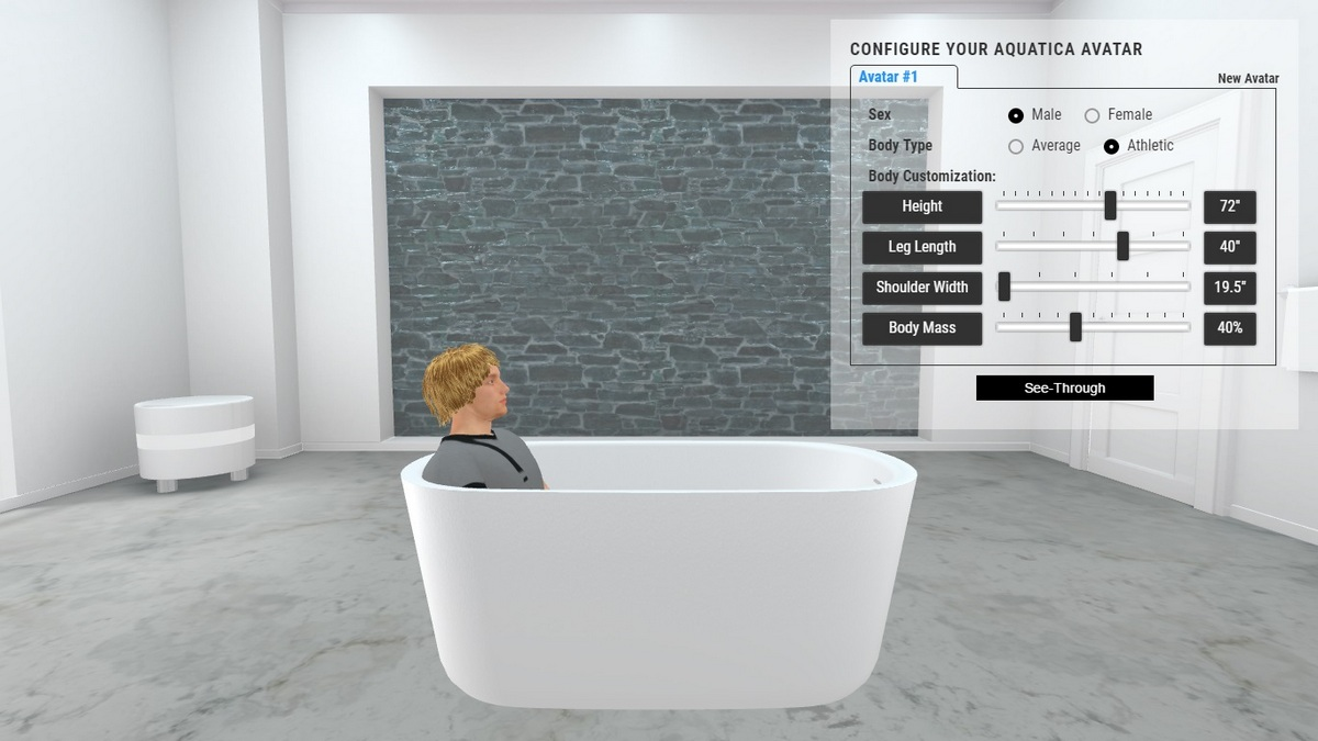 Lullaby Bathtub 3D Body Position